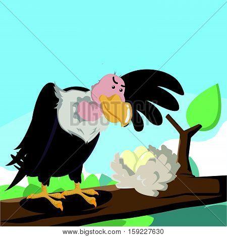 vulture stealing eegs eps10 vector illustration design