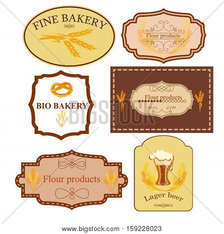 Collection of vintage retro bakery logo badges and labels. Premium badge vintage cake bakery logo food emblem. Bread label traditional wheat bakery logo retro design cafe symbol.