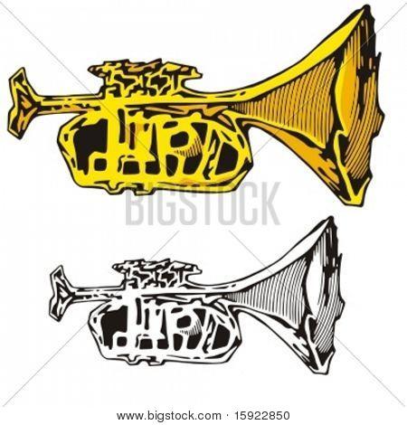 Music Instrument Series. Vector illustration of a horn.