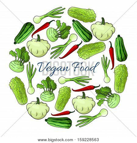 Veggies poster. Vegan organic vegetables nutrition food. Greens of cabbage, kohlrabi, zucchini, squash, pepper, leek designed in round circle shape for vegetarian cuisine and healthy food cooking