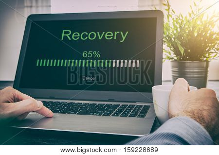 data backup restoration recovery restore browsing plan network corporate networking reserve business concept - stock image