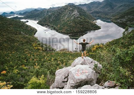 Man Traveler Standing On The Mountain And Gaping, Freedom Concept