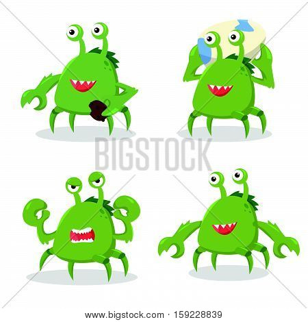 crab monster set eps10 vector illustration design