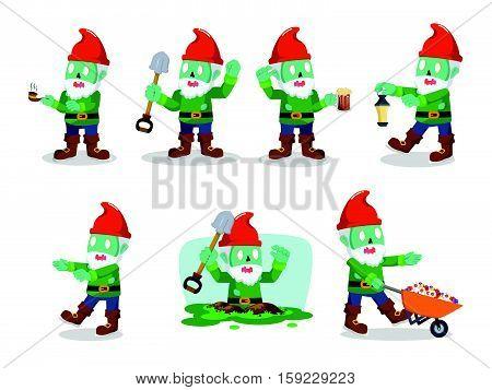 gnomes zombie set eps10 vector illustration design
