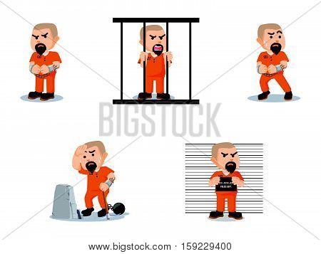 convict cartoon set eps10 vector illustration design