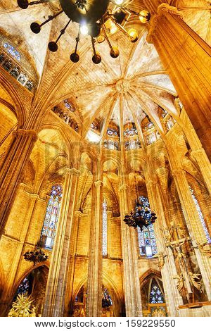 Gothic Arches In Interior Of The Barcelona Cathedral, Spain
