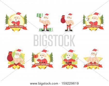santa cartoon set eps10 vector illustration design