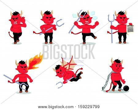 devil cartoon set eps10 vector illustration design