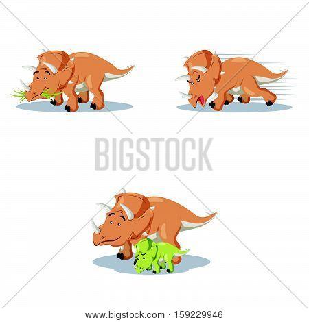 triceratops cartoon set eps10 vector illustration design