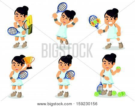 female tennis player set eps10 vector illustration design