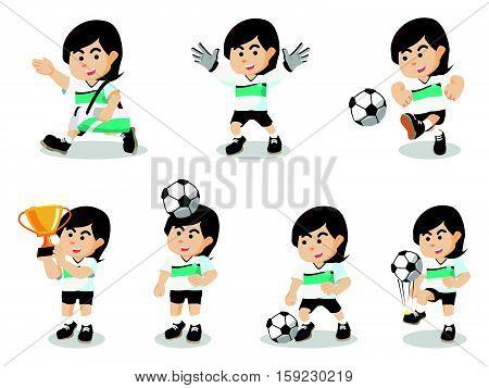 female soccer set eps10 vector illustration design