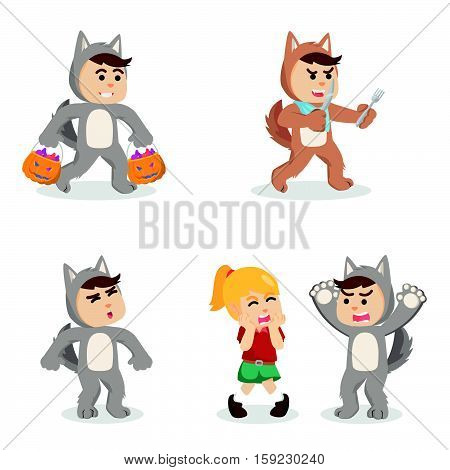 werewolf cartoon set eps10 vector illustration design
