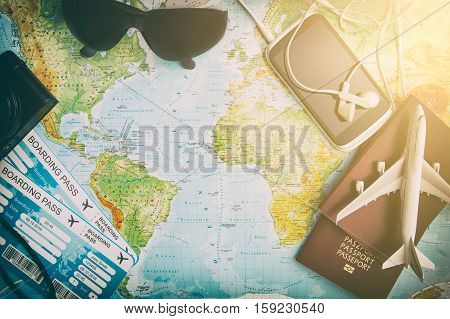 travel planning map tourism traveler plan holiday lay desk flat tourist booking journey pointing plane trip landmarks modern concept - stock image