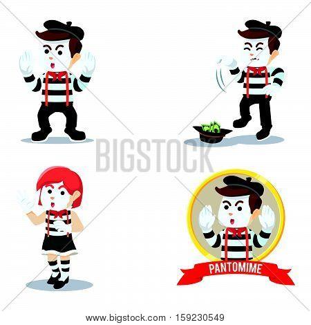 pantomime cartoon set eps10 vector illustration design