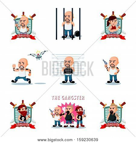 gangster cartoon set eps10 vector illustration design
