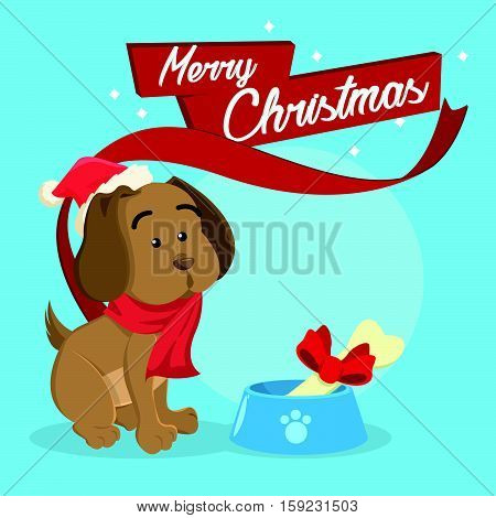 puppy merry christmas eps10 vector illustration design