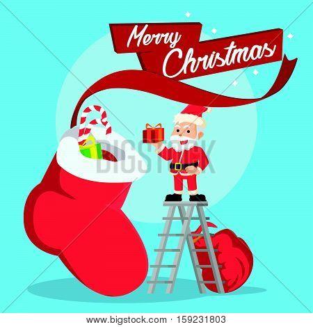 santa putting in christmas presents eps10 vector illustration design