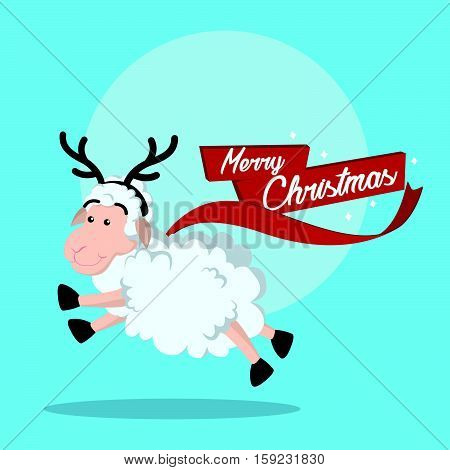 sheep want to be a reindeer eps10 vector illustration design