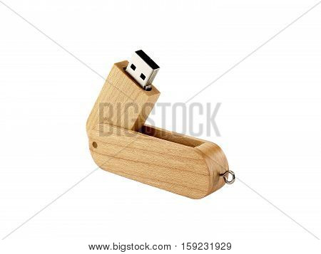 USB Flash Drive, wood design connected devices for storage and transferring digital data isolated on white background
