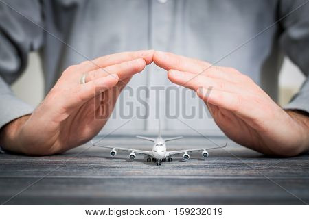 travel insurance aircraft airplane protection plane safe protect concept - stock image