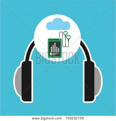 music online cloud headphone mp3 earphones vector illustration eps 10