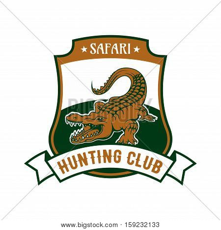 Safari Hunting club emblem. Vector isolated shield shape icon or badge with African crocodile alligator in river and ribbon. Hunting sport adventure club symbol or icon