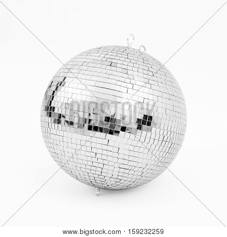 ball disco mirror discoball silver black white background glitter concept - stock image