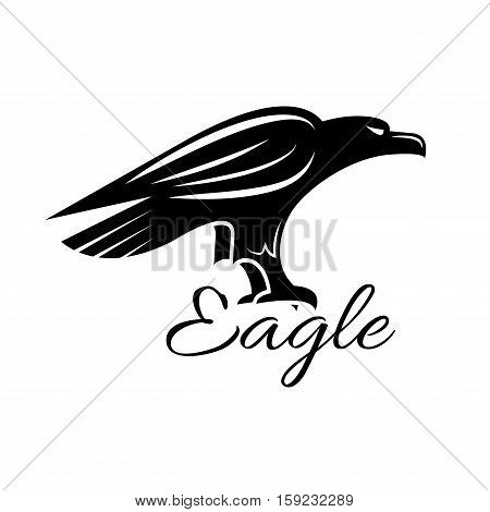Eagle icon. Noble black hawk looking for prey. Falcon sign. Vector heraldic predatory bird isolated symbol for sport team mascot, military, security or guard emblem for armory shield