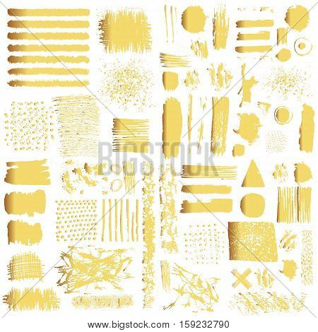 Vector set of gold brush strokes. Editable isolated elements. Grunge shiny brushes banners for your design. Freehand. Watercolor splash. Acrylic stamp.