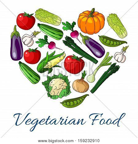 Heart of vegetables. Vector symbol of vegetarian food. Poster with pumpkin, cauliflower and broccoli cabbage, avocado, corn, cucumber and tomato, potato, beet, carrot, radish, kohlrabi broccoli pea pepper