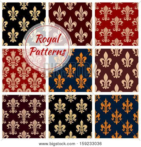 Royal patterns. Flowery fleur-de-lis background. Vector heraldic fleur-de-lys lily flower ornament tile. Royal embellishment and ornamental tracery design Seamless flourish background with floral ornate motif