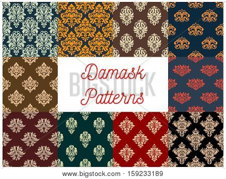Damask patterns set. Vector seamless background of floral ornate motif. Flourish flowery decor tiles set of baroque embellishments and ornamental rococo adornments. Drapery and tracery luxury backdrops