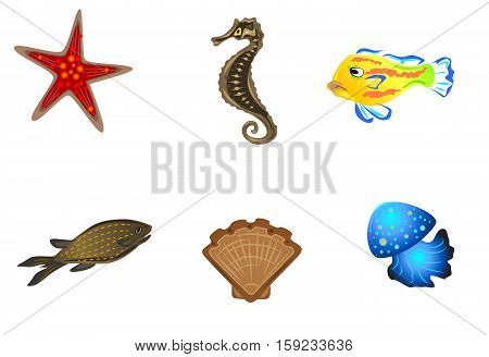 Vector illustration of a six marine inhabitants
