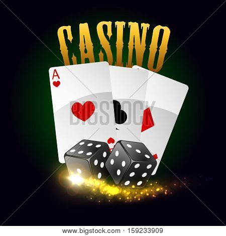 Casino poker cards with spades, hearts, clubs and gaming dices with lucky number combination. Vector poster with gold glittering light sparkles. Las Vegas casino gaming bets concept with golden letters