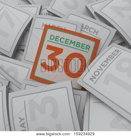 3d rendering random calendar pages december 30