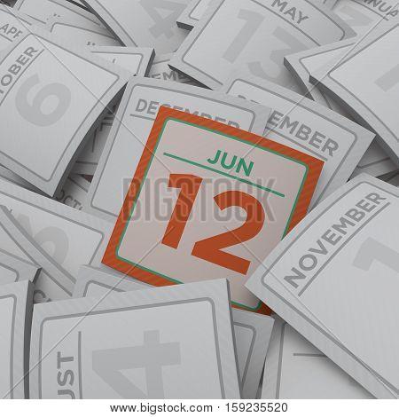 3d rendering random calendar pages jun 12