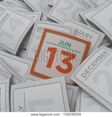 3d rendering random calendar pages jun 13