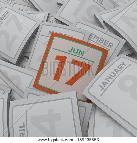 3d rendering random calendar pages jun 17