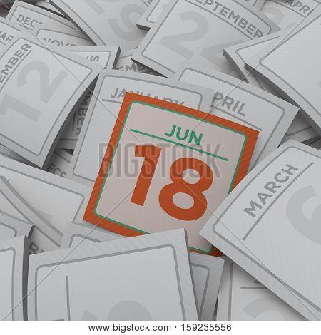 3d rendering random calendar pages jun 18