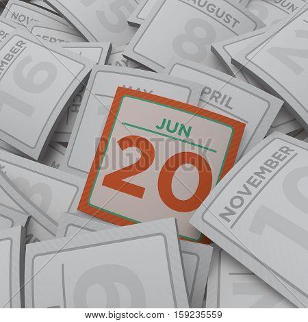 3d rendering random calendar pages jun 20