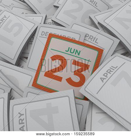 3d rendering random calendar pages jun 23