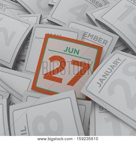 3d rendering random  calendar pages jun 27
