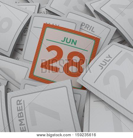3d rendering random  calendar pages jun 28
