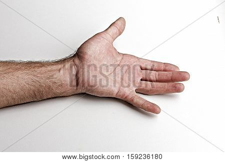 Men's left palm. The open palm with a lag little finger on a white background
