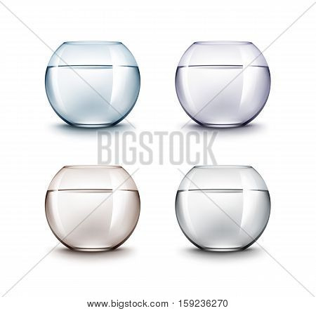 Vector Set of Realistic Black Violet Blue Brown Transparent Shiny Glass Fishbowls Aquariums with Water without Fish Isolated on White Background