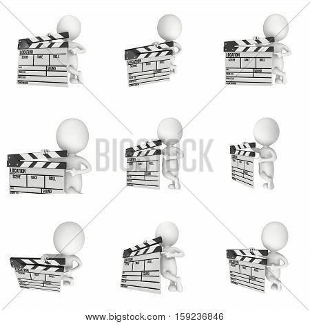 Man with cinema clapperboard set. 3D render isolated on white. Filmmaking and video production.