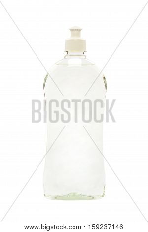 Cleaning agents body care products in plastic bottles isolated on white background.