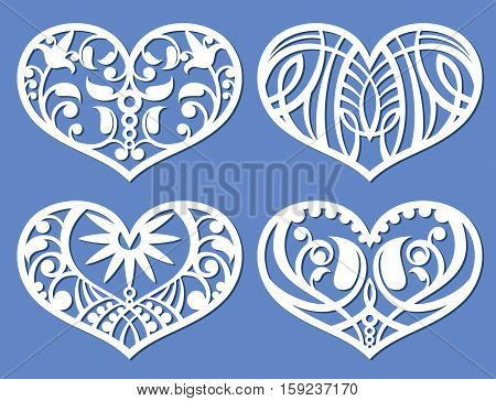 Lacy hearts, laser cutting fretwork shapes, plotter cutout love vector symbols. Heart with floral pattern, illustration of decoration heart love