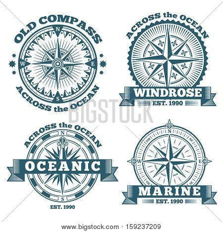 Vintage nautical labels, emblems, logo, badges with compass and ribbons. Compass navigation in ocean, emblem or logo oceanic compass illustration
