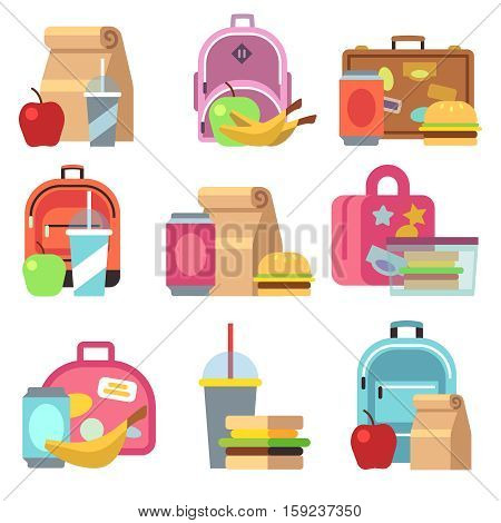 School lunch food boxes and kids bags vector flat icons. Lunch box fot lunchtime, breakfast sandwich and drink in lunchbox illustration